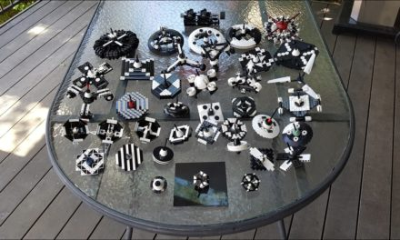 Technical LEGO: Black and white spinning tops